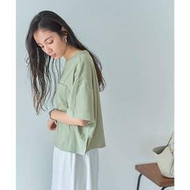 USAコットンカットソーショート丈Tシャツ (ライトグリーン)