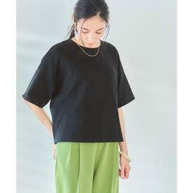 USAコットンカットソーショート丈Tシャツ (ブラック)