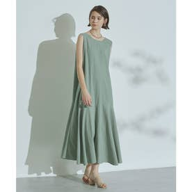バックオープン裾切替ワンピース (グリーン)