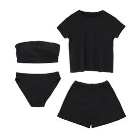 Tシャツ付ビキニ/水着4点セット【返品不可商品】  (ブラック)