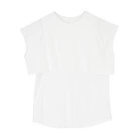 レイヤードデザインTシャツ (オフホワイト)