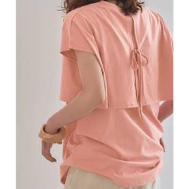 レイヤードデザインTシャツ (ピンク)