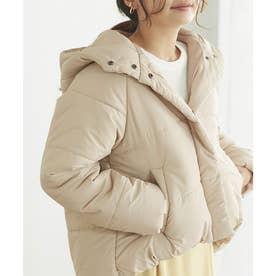 フード中綿ショートジャケットコート (ライトベージュ)