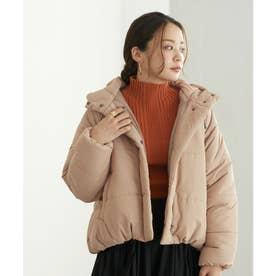 フード中綿ショートジャケットコート (ベージュ)