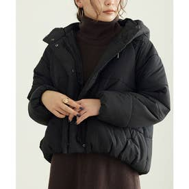 フード中綿ショートジャケットコート (ブラック)