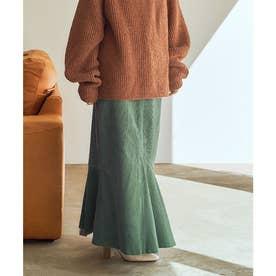 マーメイドラインコーデュロイスカート (グリーン)