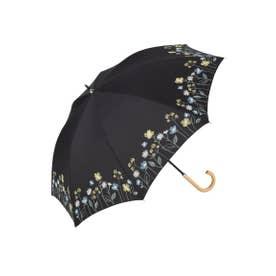 TC LONG PARASOL Flower Bloom BE90676 晴雨兼用・UVカット (ブラック(019))