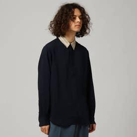 ソフトドレープクレリックシャツ (ネイビー)