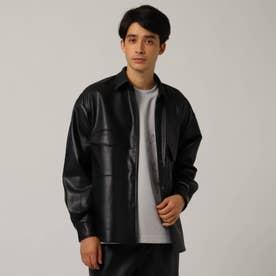 シンセティックレザーシャツジャケット (ブラック)