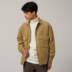 シンセティックレザーシャツジャケット (ベージュ)
