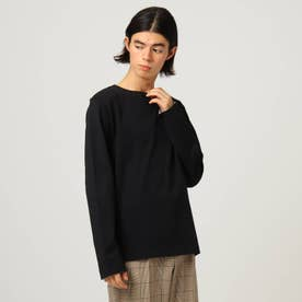 無地長袖バスクシャツ (ブラック)