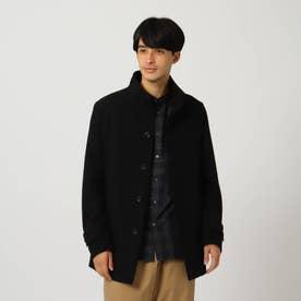 ウール混メルトンスタンドカラーコート (ブラック)