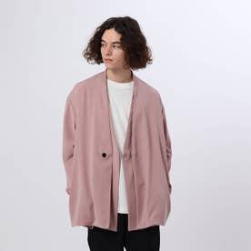 ダブルサテンノーカラージャケット (ピンク)