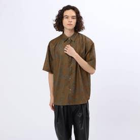 ダークトーンペイズリーシャツ (タバコブラウン)