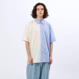 ハーフ&ハーフデザイン半袖シャツ (ライトブルー)