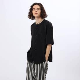 ライトサテンバンドカラークレリック5分袖シャツ (ブラック)
