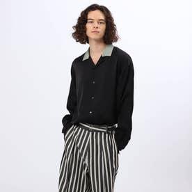 バイカラーオープンカラーシャツ (ブラック)
