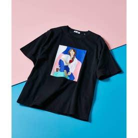 ICE CREAM GIRLプリント刺繍Tシャツ (ブラック)