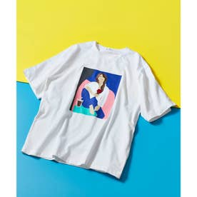 ICE CREAM GIRLプリント刺繍Tシャツ (ホワイト)