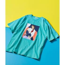 ICE CREAM GIRLプリント刺繍Tシャツ (ライトグリーン)