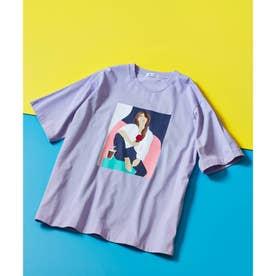 ICE CREAM GIRLプリント刺繍Tシャツ (ライトパープル)