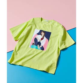 ICE CREAM GIRLプリント刺繍Tシャツ (レモンイエロー)