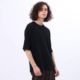 汗染み防止抗菌防臭 テレコクルーネックTシャツ (ブラック)