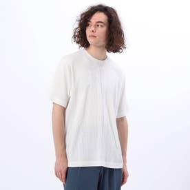 汗染み防止抗菌防臭 テレコクルーネックTシャツ (ホワイト)