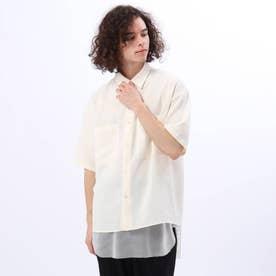 メッシュタンクレイヤードオーバーシャツ (オフホワイト)