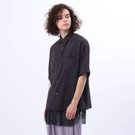 メッシュタンクレイヤードオーバーシャツ (チャコールグレー)