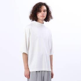 マイクロキャラメルモクネック5分袖Tシャツ (オフホワイト)