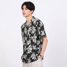 フラワー柄半袖開襟シャツ (ブラック)