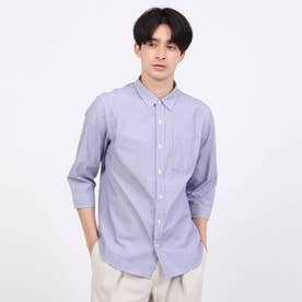 刺し子ドット7分袖シャツ (ブルー)