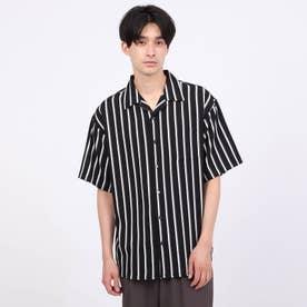 ストライプ半袖開襟シャツ (ブラック)