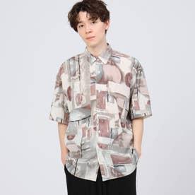 レトロパターン半袖シャツ (オレンジ)