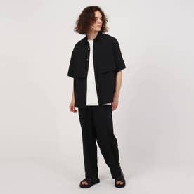 ダブルヨークシャツセットアップ(シャツ+パンツセット) (ブラック)