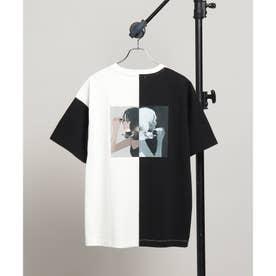 凪 × tk.TAKEO KIKUCHI「口紅を塗る女の子」Tシャツ (オフホワイト×オフホワイト)