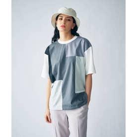 グラデーションパッチワークTシャツ(ユニセックスアイテム) (チャコールグレー)