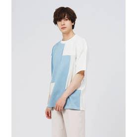 グラデーションパッチワークTシャツ (ライトブルー)