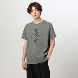 アートフラワーTシャツ (チャコールグレー)