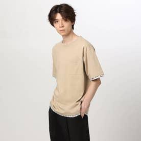 フェイクレイヤードTシャツ (ベージュ)