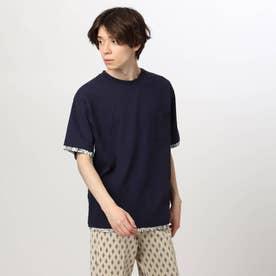 フェイクレイヤードTシャツ (ネイビー)
