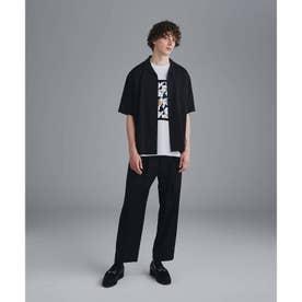 ナメラカオープンカラーセットアップ(シャツ+パンツセット) (ブラック)