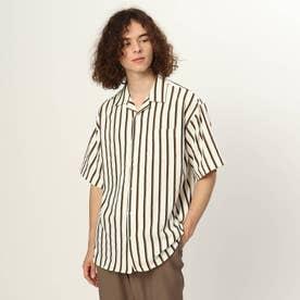 ストライプ半袖開襟シャツ (オフホワイト)