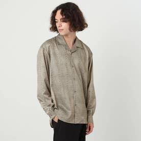 小紋オープンカラーシャツ (ブラウン)