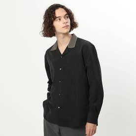 微起毛バイカラーオープンカラーシャツ (ブラック)