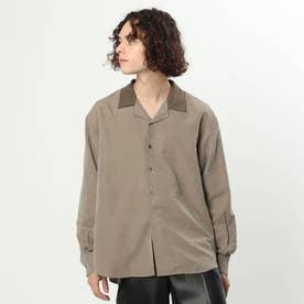 微起毛バイカラーオープンカラーシャツ (ベージュ)