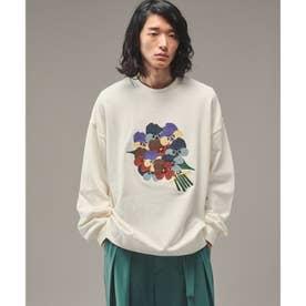 Eiji Fukui×コラボ ブーケクロス刺繍スウェット (オフホワイト)