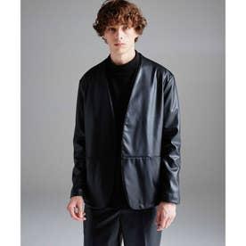 【WEB限定】シンセティックレザーノーカラージャケット (ブラック)