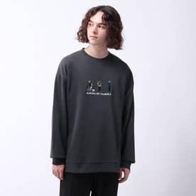 フロント刺繍裏毛プルオーバー (ディープグレー)